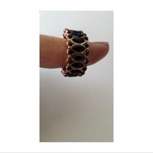Black Gemstone & Copper Stretchy Back Ring